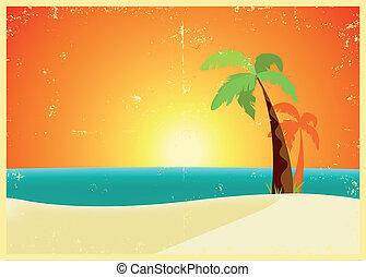 tropicais, grunge, praia, cartaz
