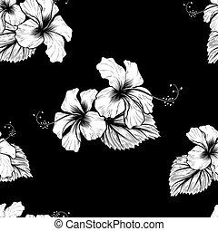 tropicais, hibisco, flores, seamless, fundo