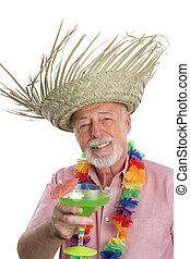 tropicais, homem sênior, &, margarita