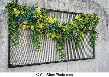 tropicais, jardim, vertical