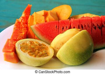 tropicais, mistura, fruta