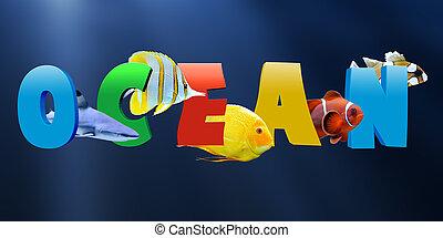 tropicais, muitos, peixe, palavra, oceânicos