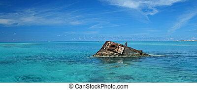 tropicais, navio, 2, mar, destruição
