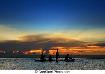 tropicais, pôr do sol, crianças, canoa