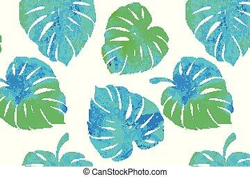 tropicais, padrão, folhas, monstera