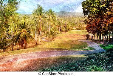 tropicais, paisagem abstrata