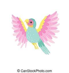 tropicais, papagaio, ilustração, plumage, vetorial, iridescente, pássaro