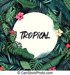 tropicais, papel, floresta, fundo, redondo