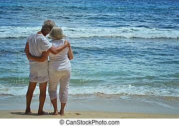 tropicais, par, praia, idoso, descanso