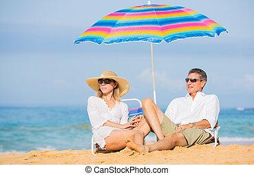 tropicais, par, praia, relaxante