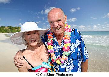 tropicais, par, praia, sênior, feliz