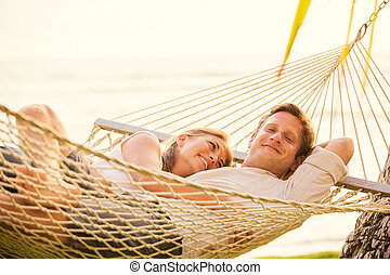 tropicais, par, rede, relaxante