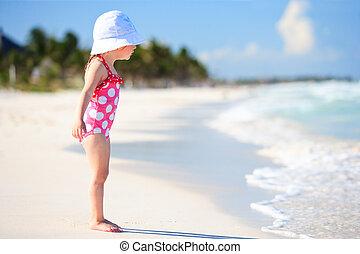 tropicais, pequeno, praia, menina