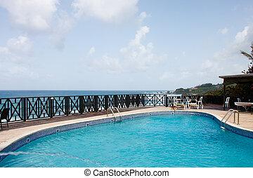 tropicais, piscina, costa