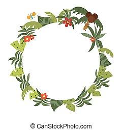tropicais, plantas, quadro, redondo
