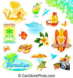 tropicais, recurso, viagem, e, exoticas, feriados, vetorial, jogo