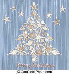 tropicais, seashell, árvore, natal
