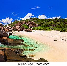 tropicais, seychelles, praia