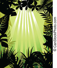 tropicais, silueta, floresta