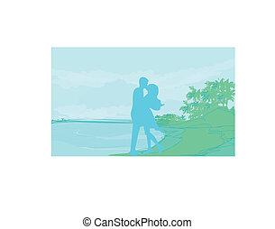 tropicais, silueta, par, praia
