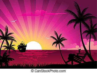 tropicais, verão, bandeira