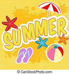 tropicais, verão, cartaz