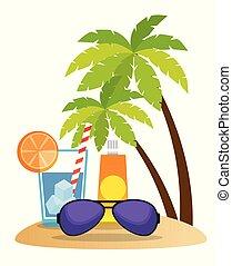 tropicais, verão, cena praia