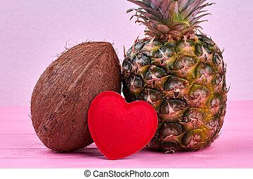 tropicais, verão, fruits., composição