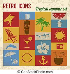 tropicais, verão, jogo, ícones
