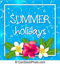 tropicais, verão, quadro, flores