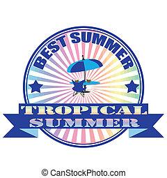 tropicais, verão, selo