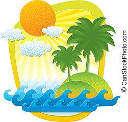 tropicais, vetorial, cor, -, ilustração, formas, applique, papel, paisagem, imitação
