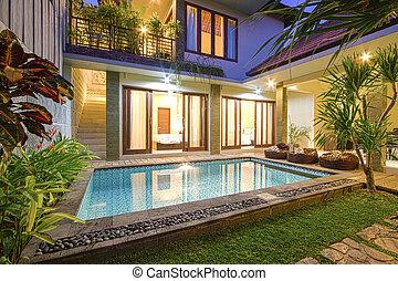 tropicais, vila, pool.