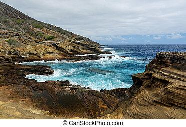 tropicais, vista,  Lanai, Havaí, guarda