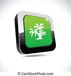 tropical 3d square button.