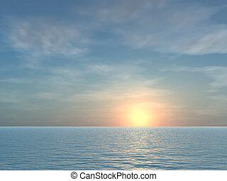 tropical, abierto, salida del sol, plano de fondo, mar