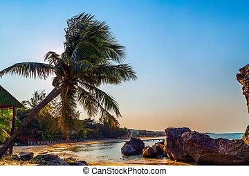 tropical, acantilados, ocaso