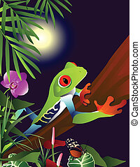 Tropical Adventure - An illustration of a Red-Eyed Tree Frog...