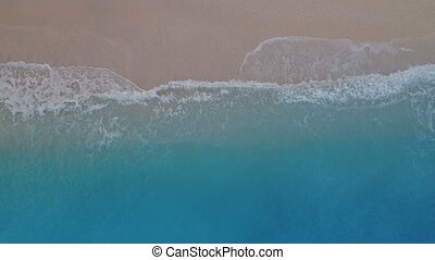 Tropical aerial bird eye view of sandy beach and azure...