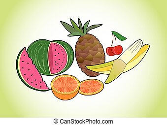 Tropical and summer juicy fruits - melon, pineapple, banana, cherry and orange, fruit pictures on green gradient background, healthy diet and summer refreshment