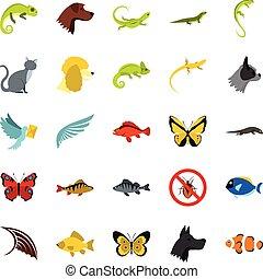 Tropical animals icons set, flat style