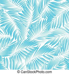 Tropical aqua leaves in a seamless pattern