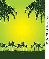 tropical, arte, palma, vector, playa
