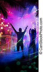 tropical, arte, playa noche, fiesta