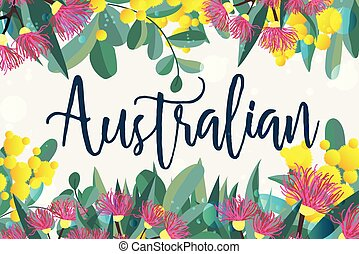 Tropical austalia design vector leaves and flowers
