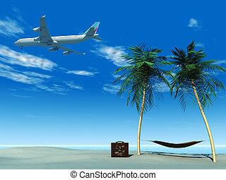 tropical, avión, vuelo, playa., encima