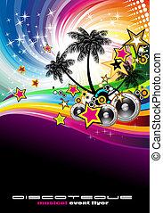 tropical, aviador, música, acontecimiento, disco