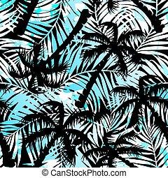 tropical, azul, y, negro, palmas, seamless, patrón