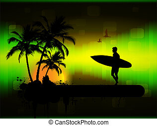 Tropical background, vector illustration