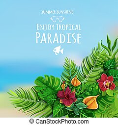 Tropical Background With Monstera